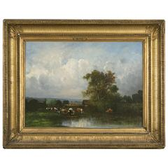 """Cow Herd by a Pond"" Oil on Canvas Signed Victor Dupré, 1896 Barbizon School"