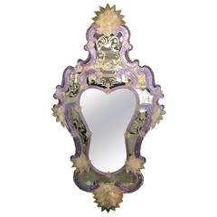 Mirror with Gold Leaf Venetian Glass Decoration