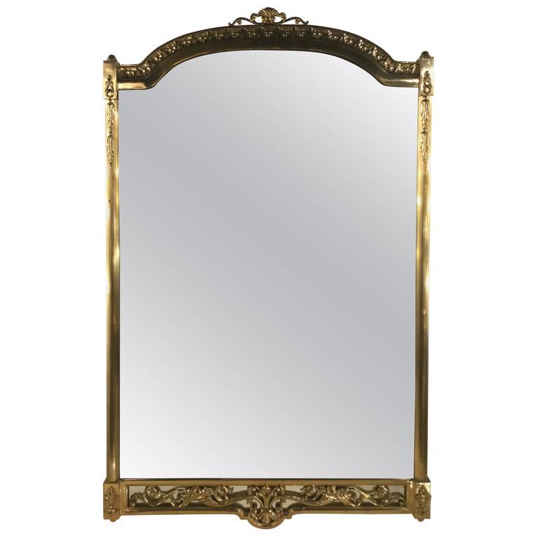 Italian Mirror with a Brass Frame, circa 1960