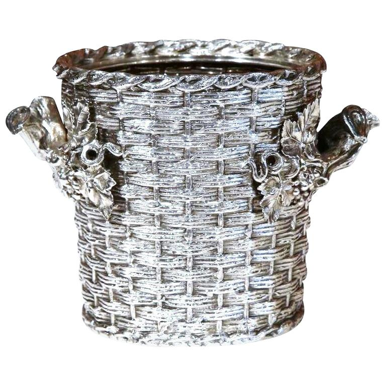 19th Century, English, Silver Plated Wine Cooler Signed George Richmond Collins For Sale