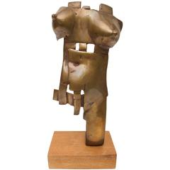 Bronze Brutalist Sculpture Nude Female Torso