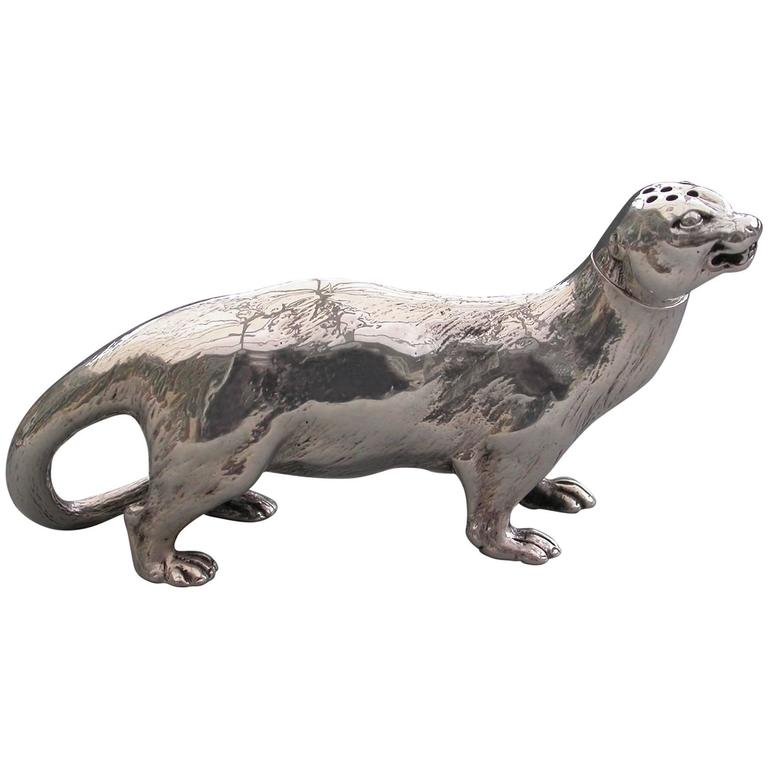 Victorian Novelty Cast Silver Otter Pepper