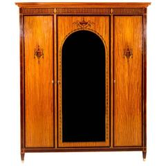 Mercier Freres French Inlaid Satinwood and Mahogany Banded Armoire