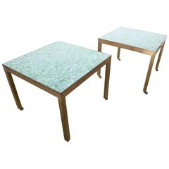 Pair of Brass and Tile End Tables