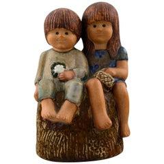 """Rare Figure, Lisa Larson, """"Siblings"""", Glazed Pottery, Gustavsberg, Sweden"""