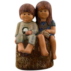 "Rare Figure, Lisa Larson, ""Siblings"", Glazed Pottery, Gustavsberg, Sweden"