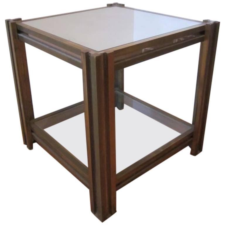 Italian Mid-Century Modern Brass & Nickel Side Table / Nightstand by Romeo Rega