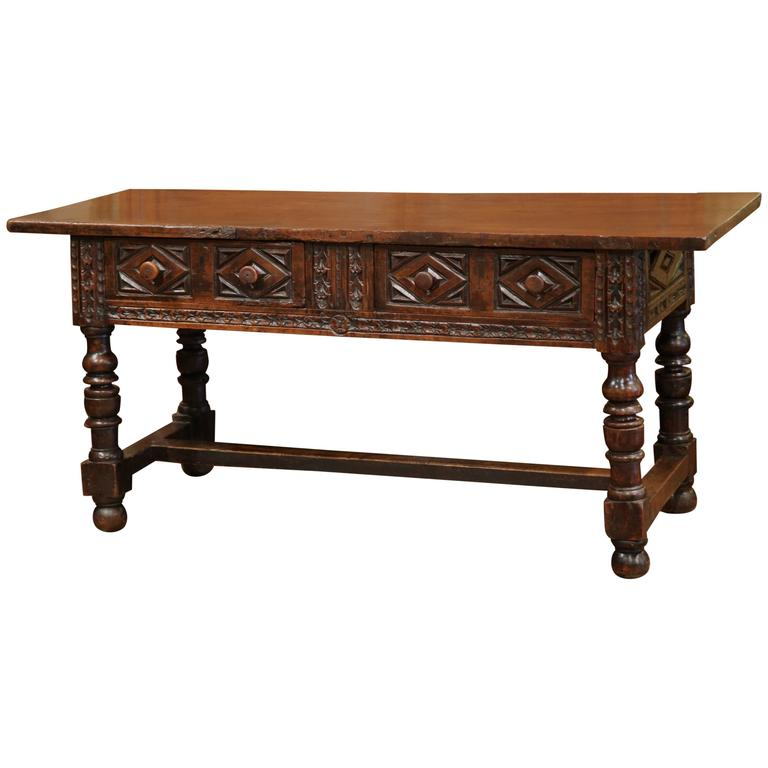 Wonderful Early 18th Century Spanish Carved Walnut Console Table With Secret Drawer 1