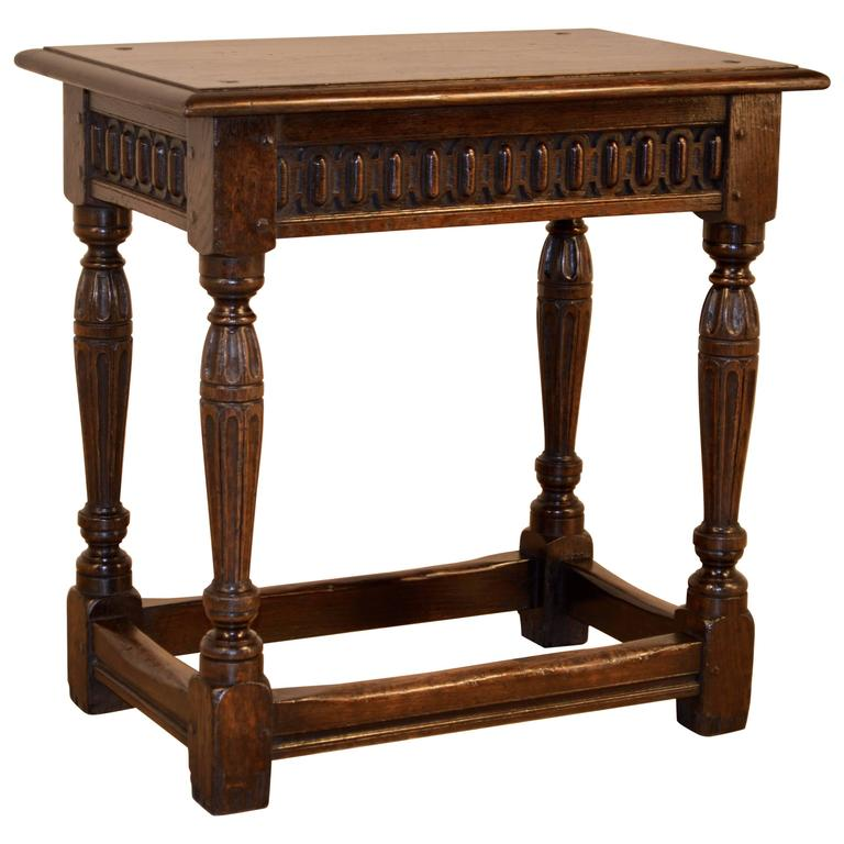 19th Century Carved English Joint Stool