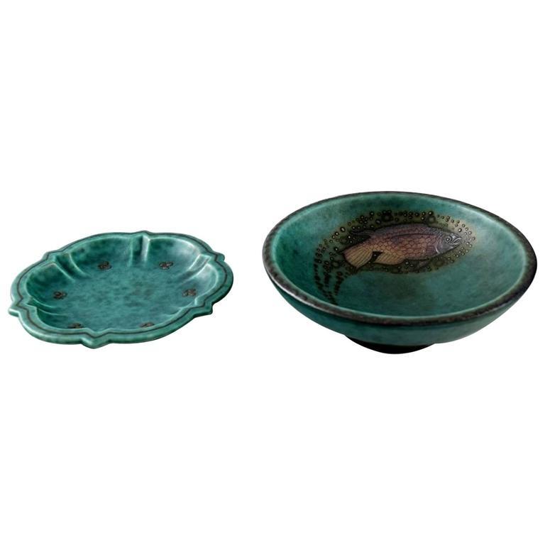 "Two Small Bowls, Stoneware, 1940s, ""Argenta"", Wilhelm Kage for Gustavsberg"