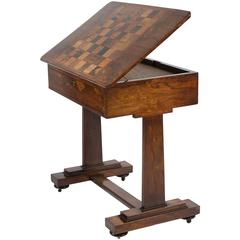 English WVI Rosewood Games Table with Specimen Chess Top