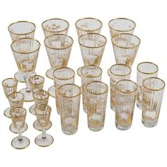 Early 20th Century Set of Italian Drinking Glasses with Gilt Decoration