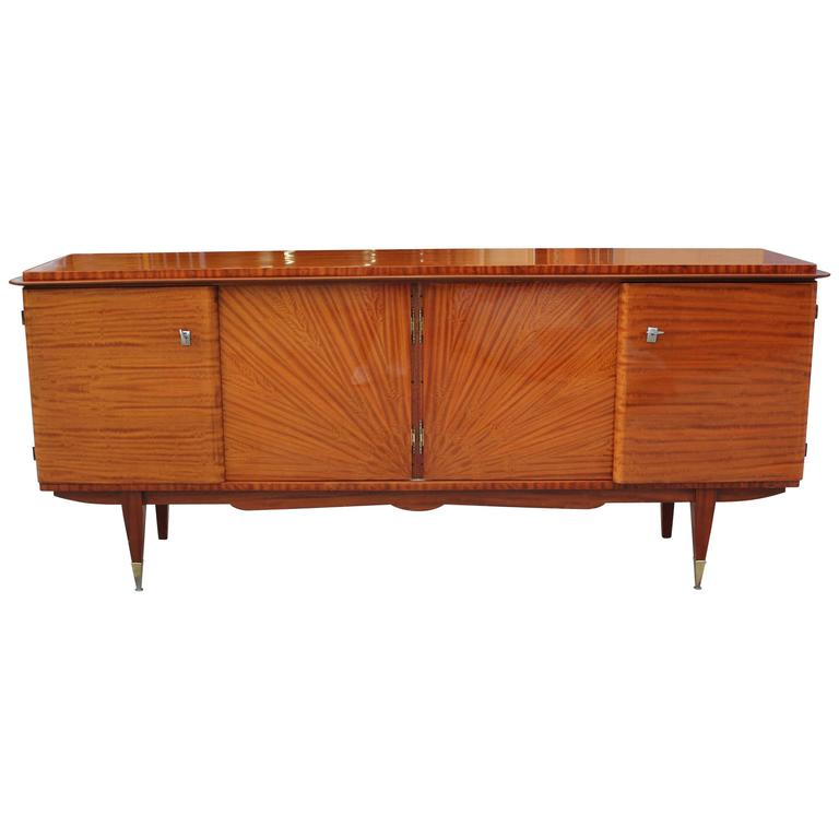 french art deco sideboard or credenza mahogany sunburst circa 1940s at 1stdibs. Black Bedroom Furniture Sets. Home Design Ideas