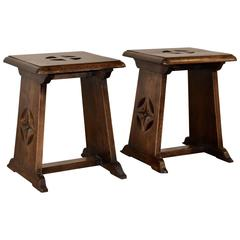 19th Century Pair of Gothic Revival Stools