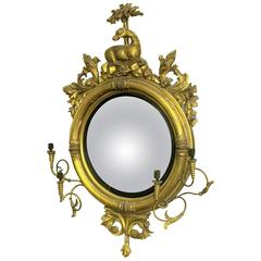 Antique American Federal Giltwood Convex Mirror With Double Sconce Girandole