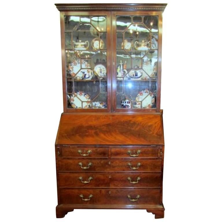 Antique English George III Figured Mahogany Chippendale Style Bureau  Bookcase For Sale - Antique English George III Figured Mahogany Chippendale Style Bureau