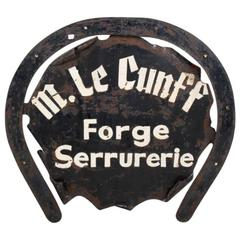 French Antique Iron Blacksmith Sign circa 1890