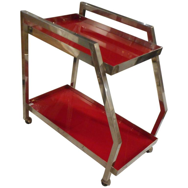 Asymmetrical Trolley with Red Opaline Trays, 1970s