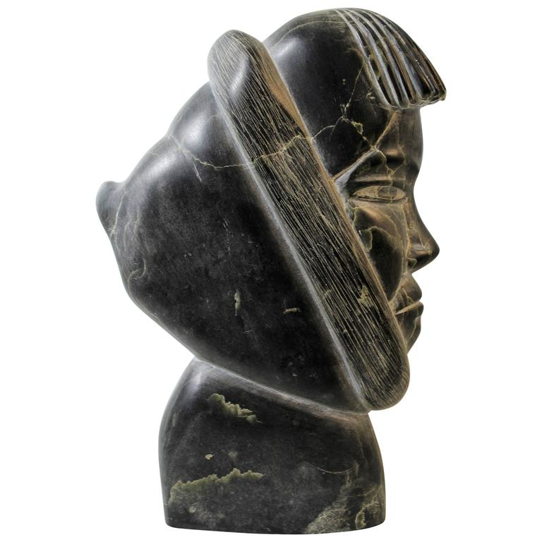 Inuit Soapstone Sculpture of Eskimo in Parka