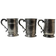 Three English Pewter Tankards