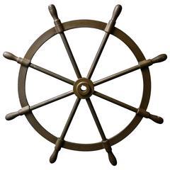 Large Brass Nautical Ship's Steering Wheel