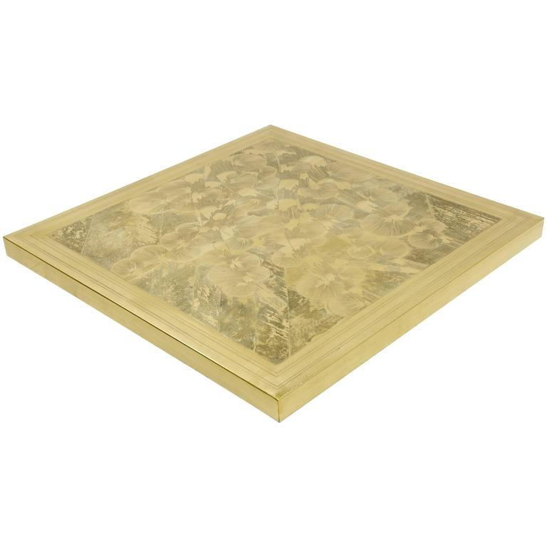 Coffee Table Square Etched Brass by Armand Jonckers, circa 1970