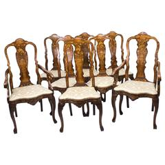 Antique Set of Eight Dutch Marquetry Walnut Dining Chairs, 18th Century