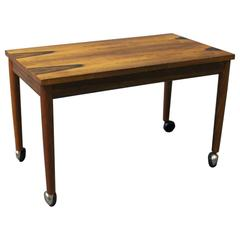 Small Table on Wheels in Rosewood of Danish Design, 1960s