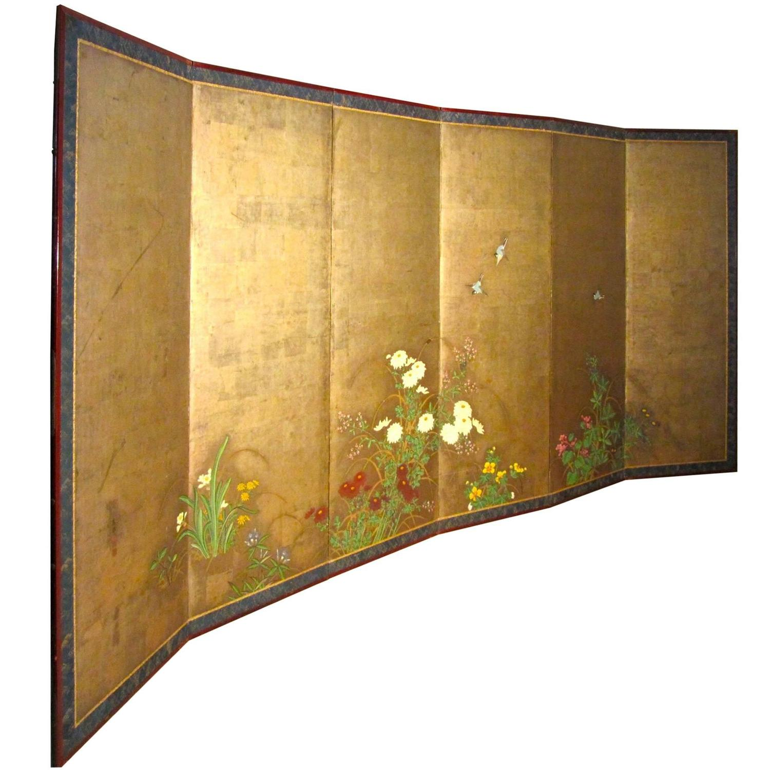 Antique japanese screens for sale - Pair Of 18th Century Gold Painted Japanese Six Fold Screens Byobu Edo Period