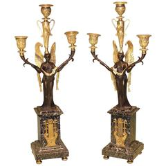 Pair of Ormolu and Green Marble Candelabra