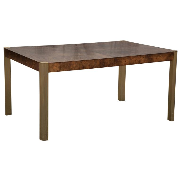 Sleek burl wood and brass dining table with two leaves at for Dining room table 2 leaves