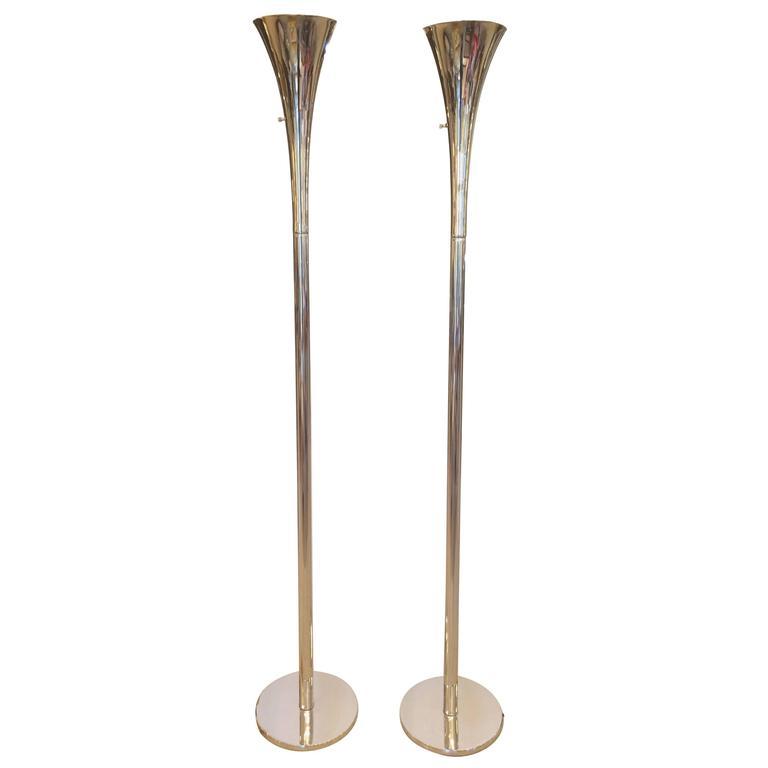 Pair of Sleek Shiny Nickel Mid-Century Modern Torchieres Floor Lamps by Laurel