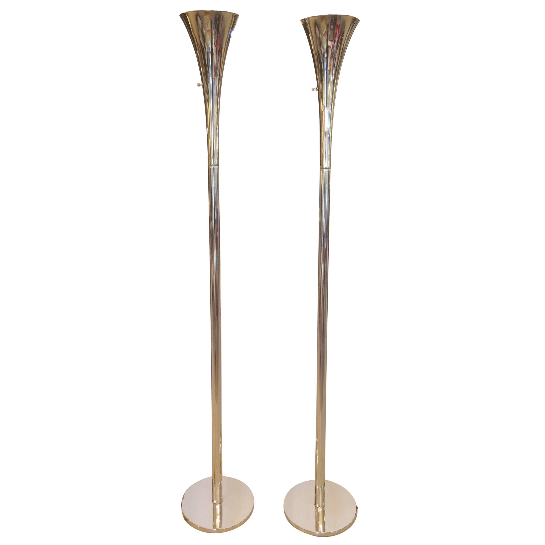 Pair of Sleek Nickel Mid Century Modern Torchieres Floor Lamps by Laurel