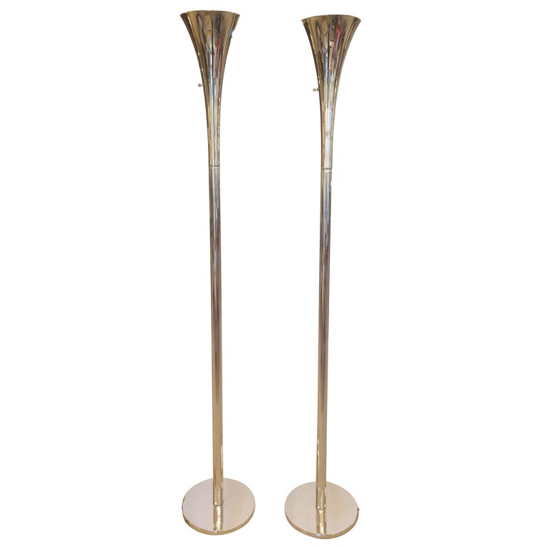 Pair of midcentury modern chrome and lucite torchiere floor lamps