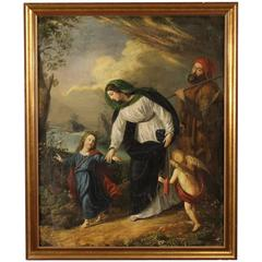 """19th Century French Painting """"Holy Family with Little Angels"""""""