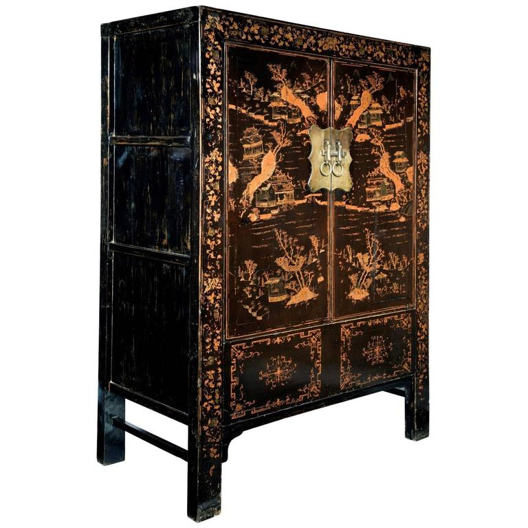 Large 19th century black lacquer and decorated chinese for Oriental furniture for sale