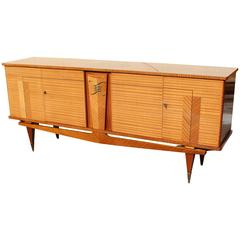 French Art Deco Sideboard or Buffet Flame Mahogany Ski Leg Style, circa 1940
