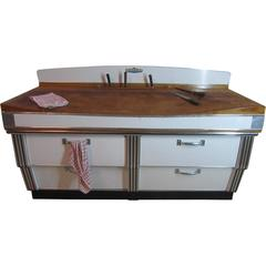 1920s, Belgian Art Deco Maple and Formica Butchers Block, Kitchen Island