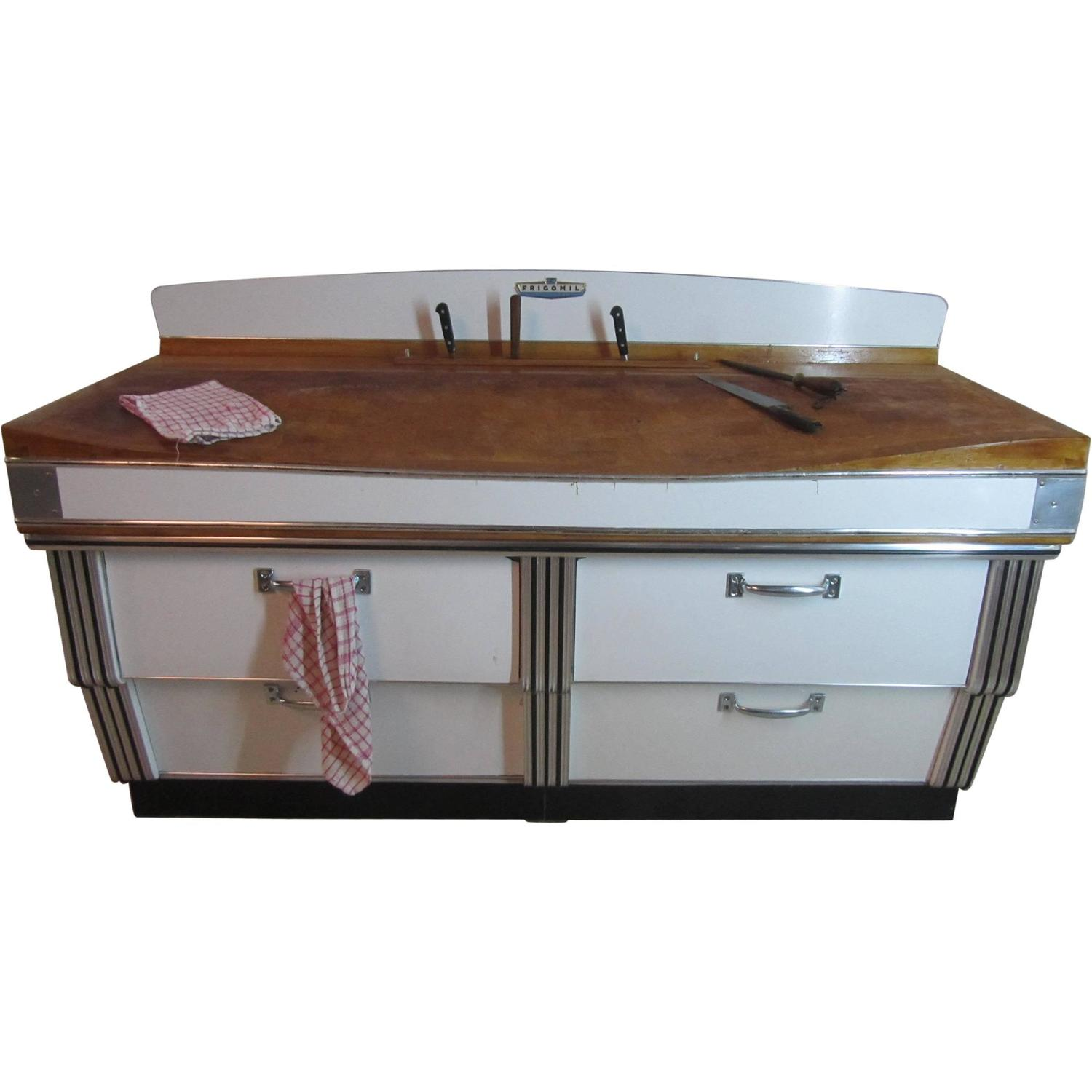 1920s Belgian Art Deco Maple and Formica Butchers Block Kitchen