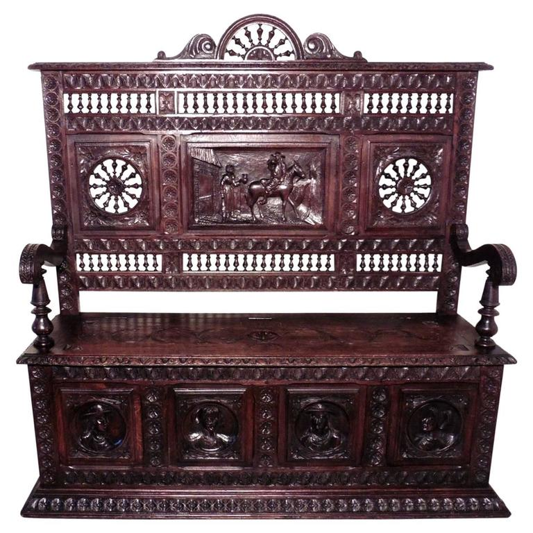 19th Century Breton High Back Carved Oak Box Settle, Carved Hall Seat