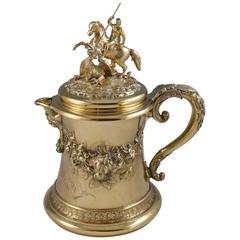 Victorian Silver-Gilt Lidded Jug by C. F. Hancock with St George and the Dragon