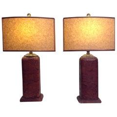 Pair of Python Skin Lamps