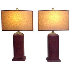 Pair of Python Skin Lamps