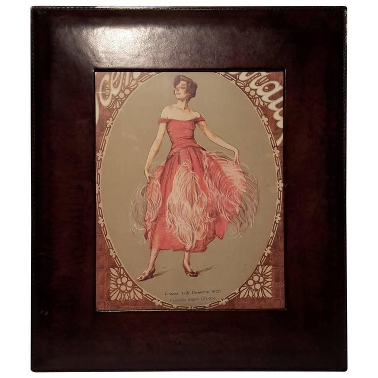 Italian Leather Picture Frame Inspired By 1940s At 1stdibs