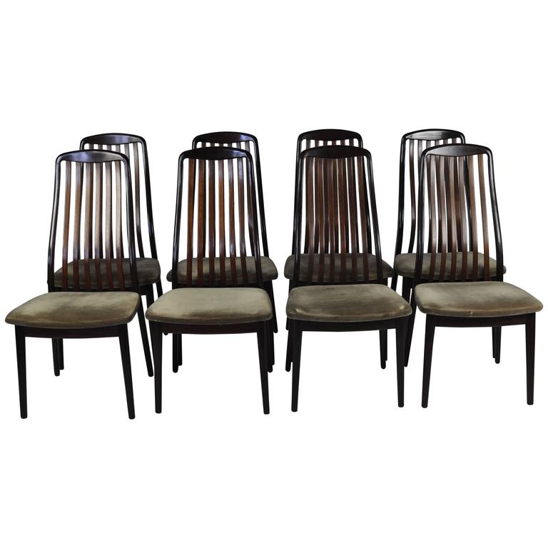 Set of Eight 1970s Rosewood High-Back Dining Chairs 1