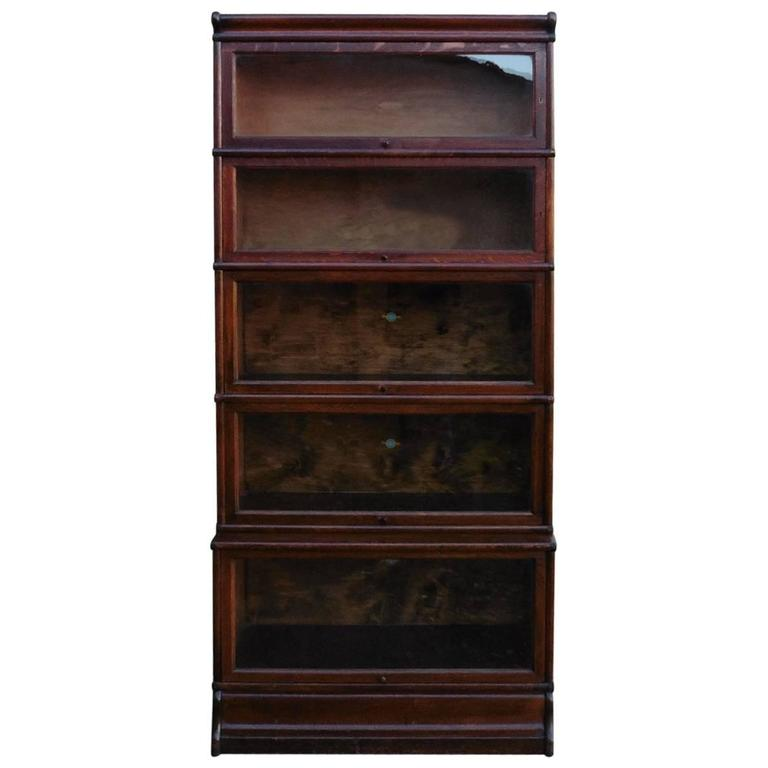 Merveilleux Five Section Waterfall Oak Globe Wernicke Barristers Bookcase Or Filing  Cabinet For Sale