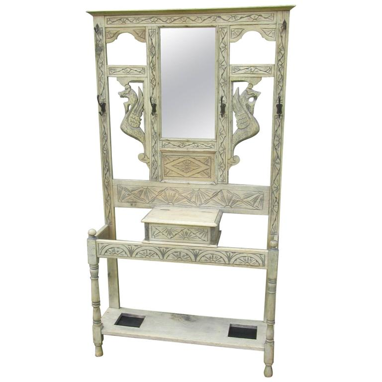 19th Century Victorian Carved Stripped and Bleached Gothic Oak Hall Stand