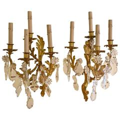 Pair of French Bronze and Crystal Sconces