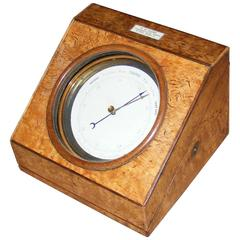 Antique Table Barometer in Maple Angled Case