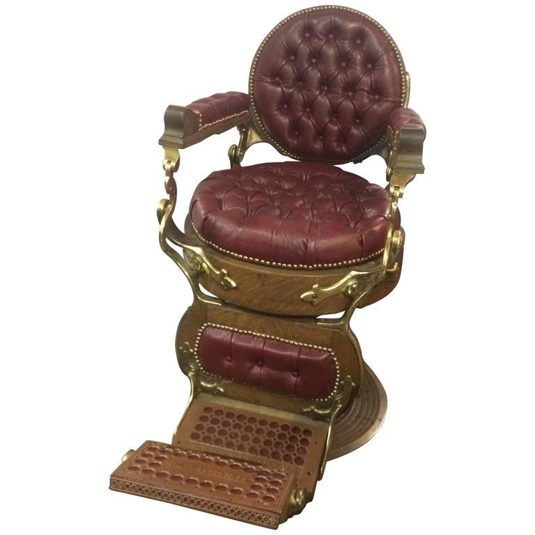 E Berninghaus Hercules Hydraulic Barber Chair At 1stdibs